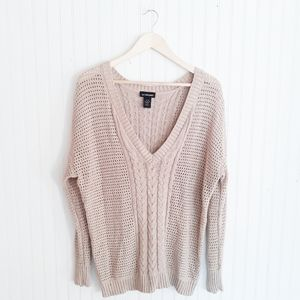 LANE BRYANT Gold Cable Pullover Sweater